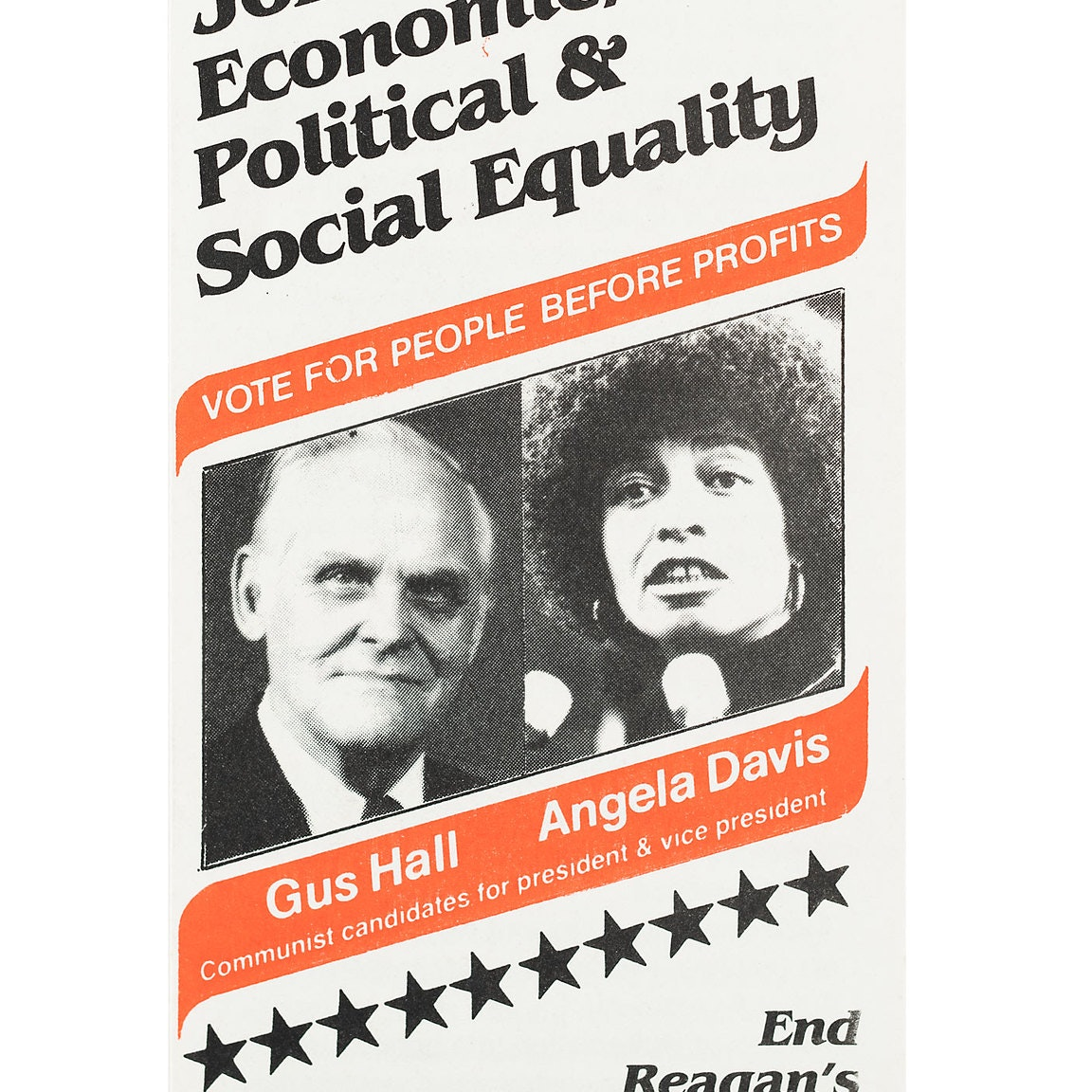 Headshots of Gus Hall and Angela Davis on pamphlet design. With banners in orange throughout.