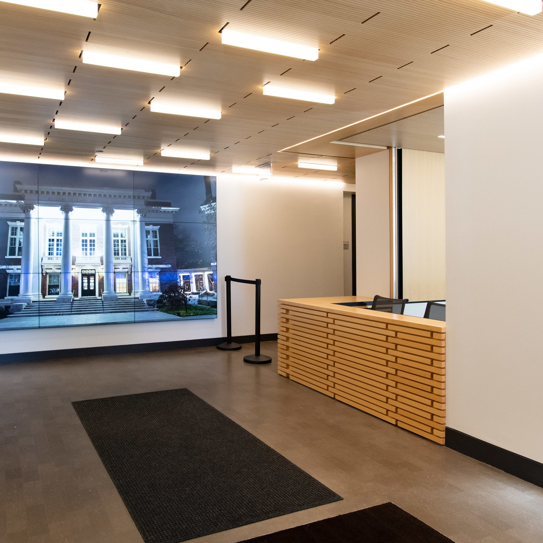 Knafel Center registration area in building lobby