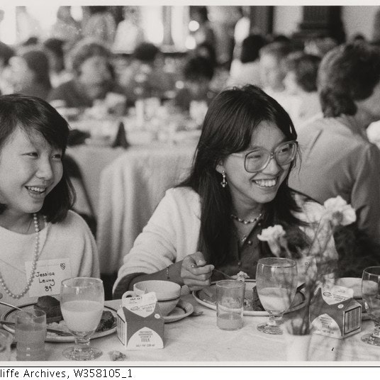 Black & White image of two Asian students at luncheon
