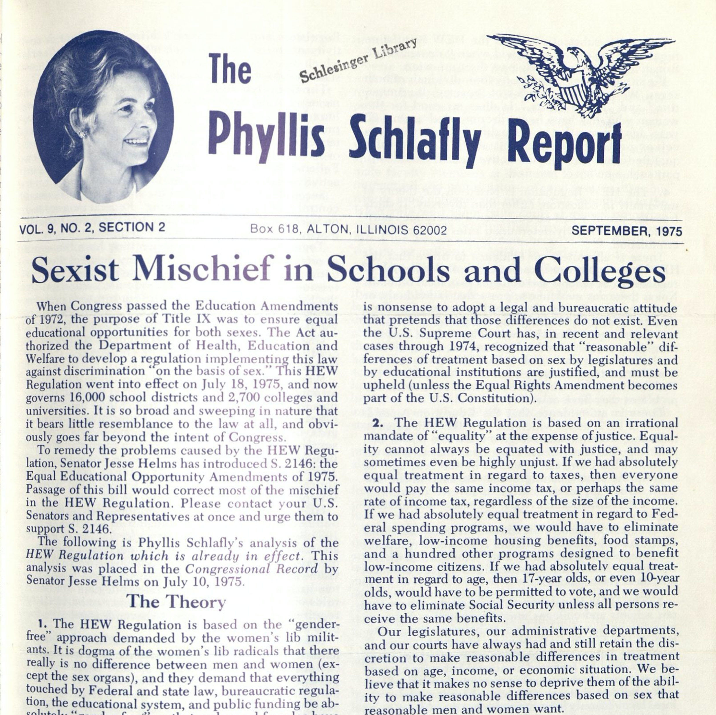 Phyllis Schlafly Report cover
