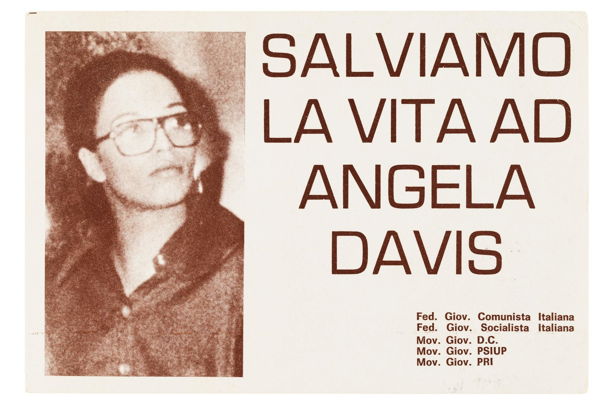 "Sepia toned postcard with portrait of Angela Davis on the lefthand side, and text reading ""Salviamo La Vita AD Angela Davis."""
