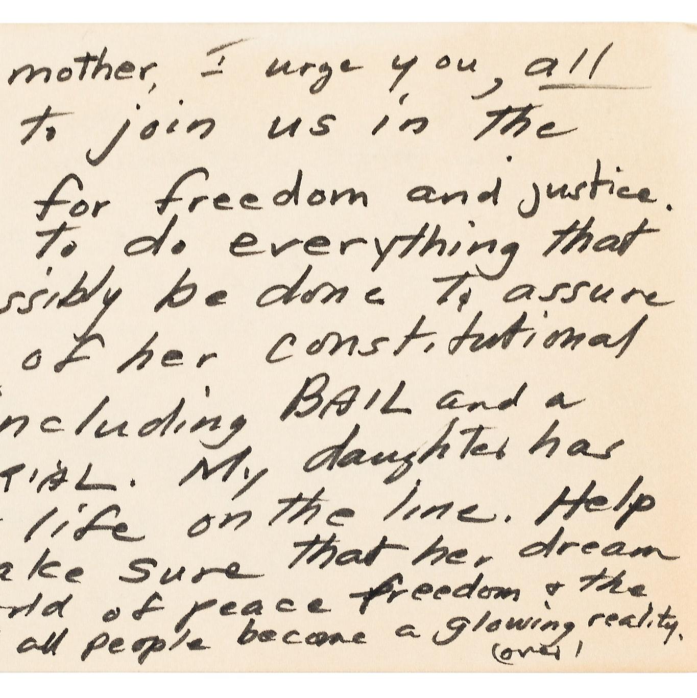 Yellow toned handwritten note.