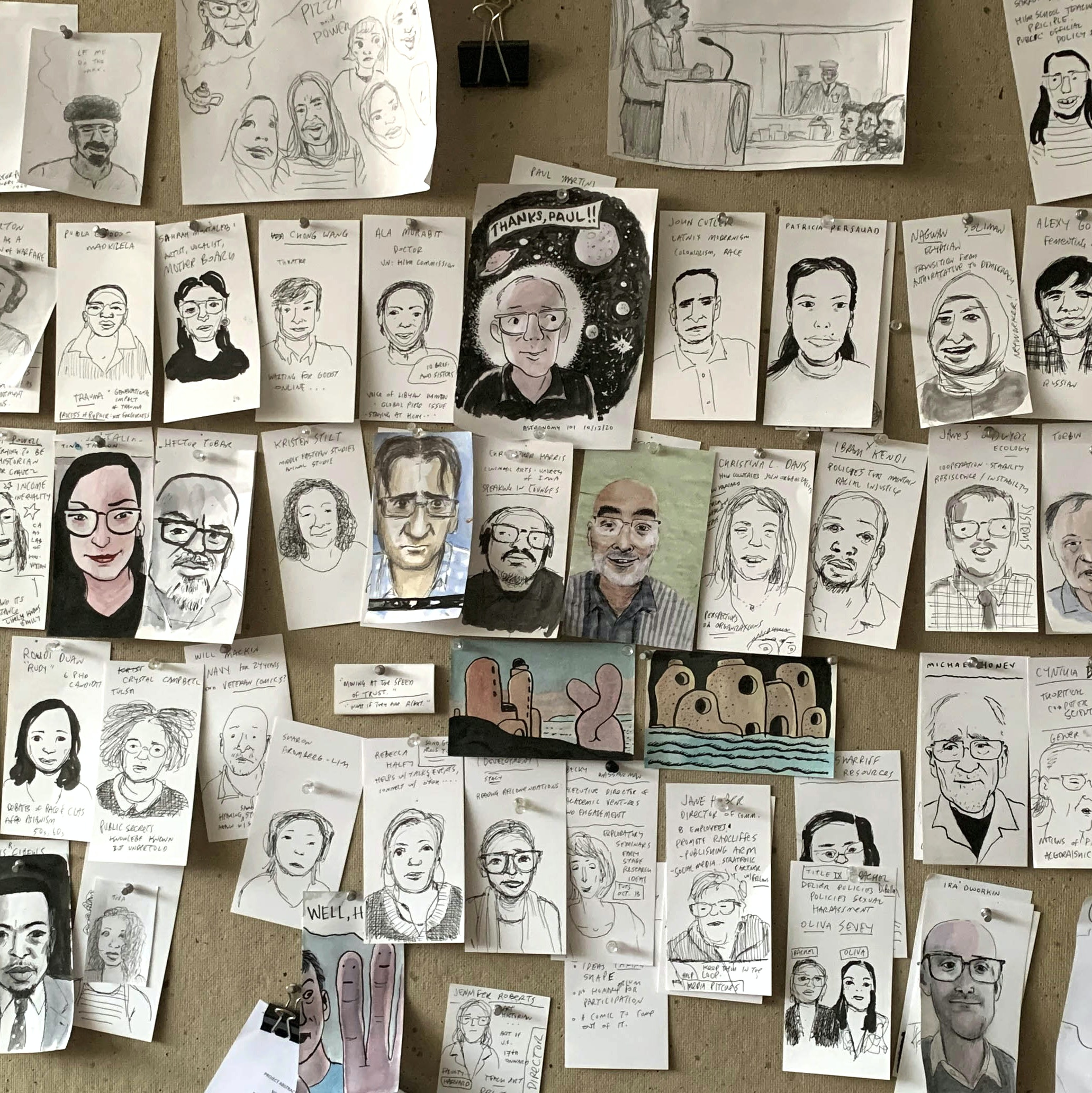 Zoom portraits by James Sturm of his peers in the 2020–2021 fellowship class.
