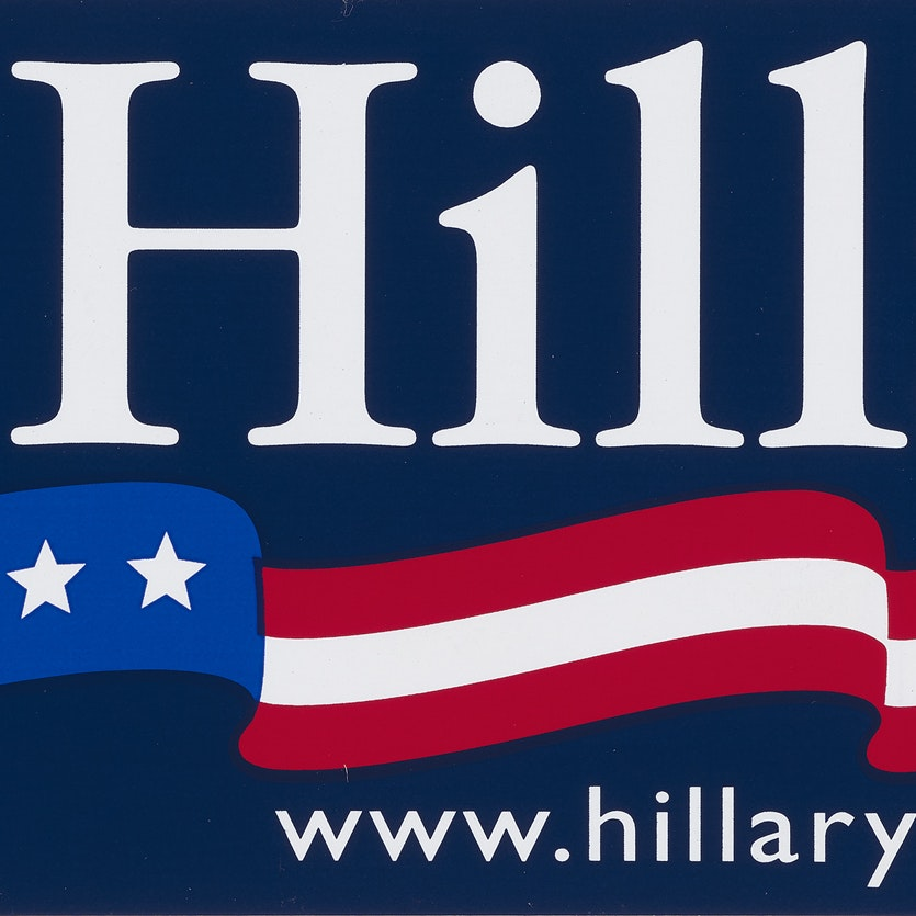 Hillary Clinton Campaign Sticker Schlesinger Memorabilia Collection