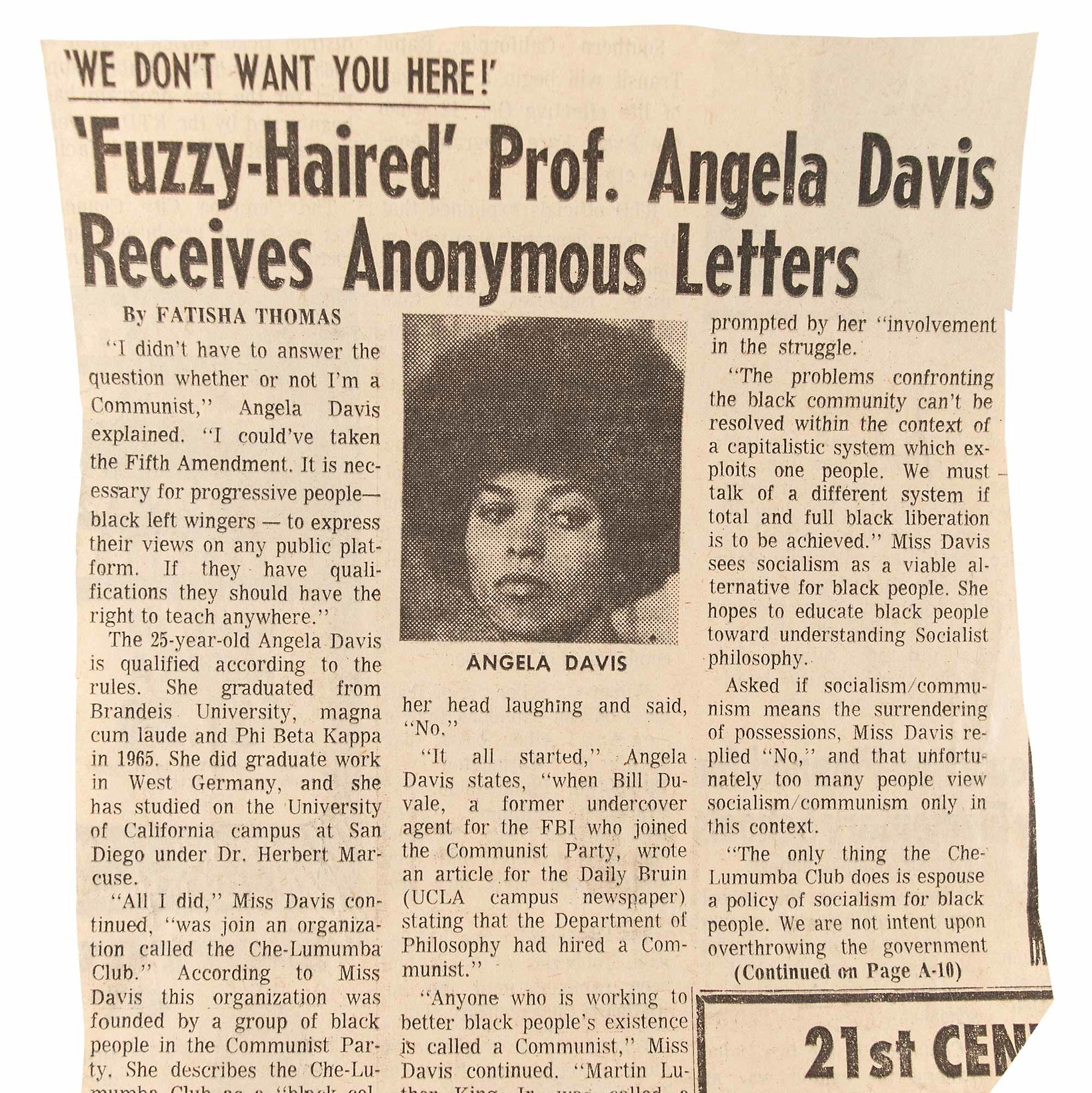 """Sepia toned editorial page with article titled, """"Fuzzy-Haired"""" Prof. Angela Davis Receives Anonymous Letters."""""""