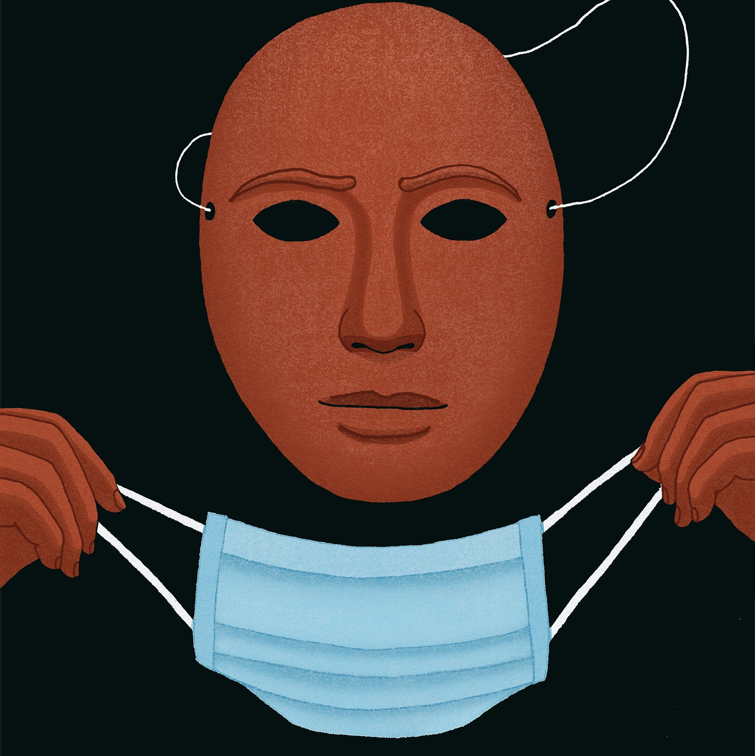Illustration of putting a mask on one's face