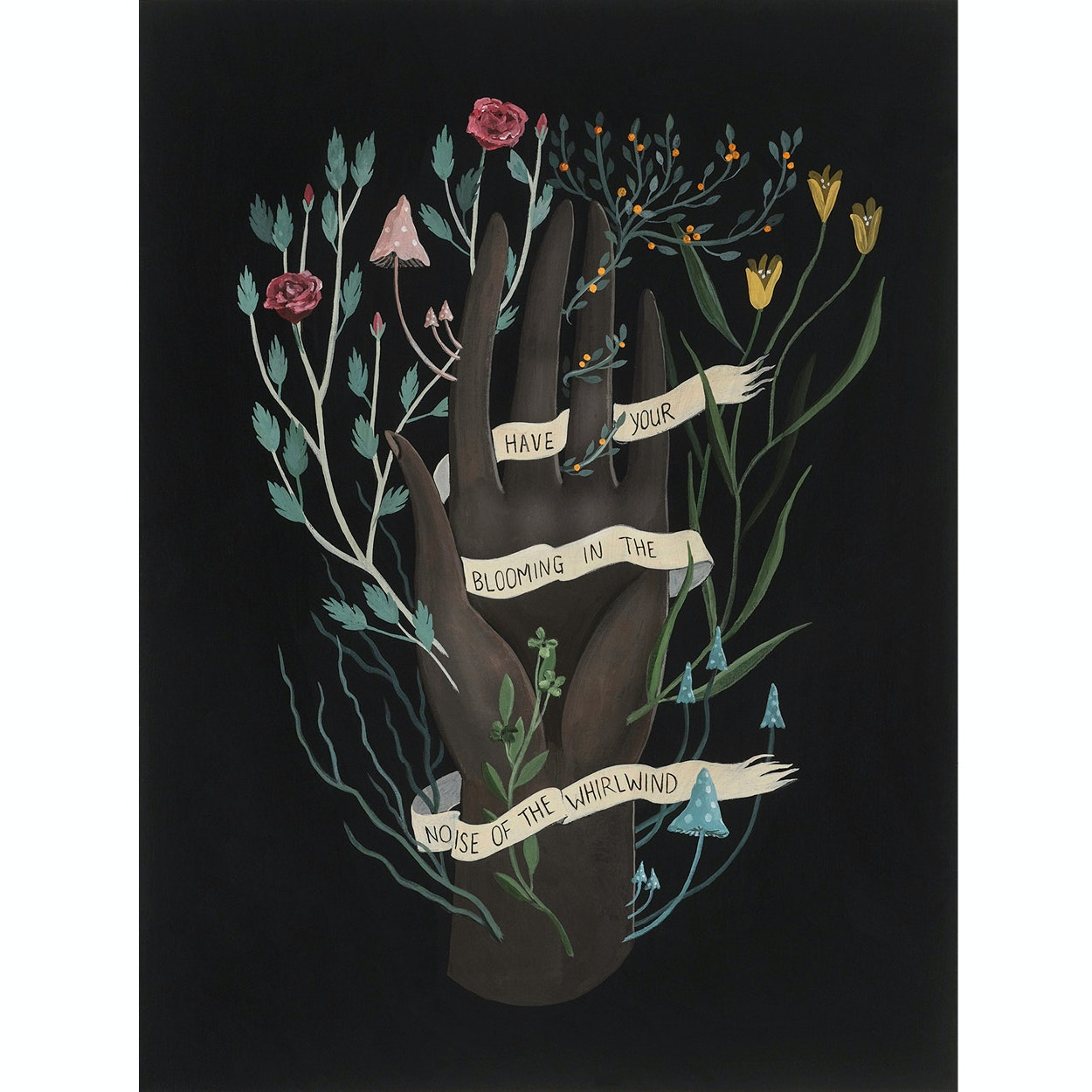Illustration by Rebecca Chaperon of a hand with flowers sprouting around