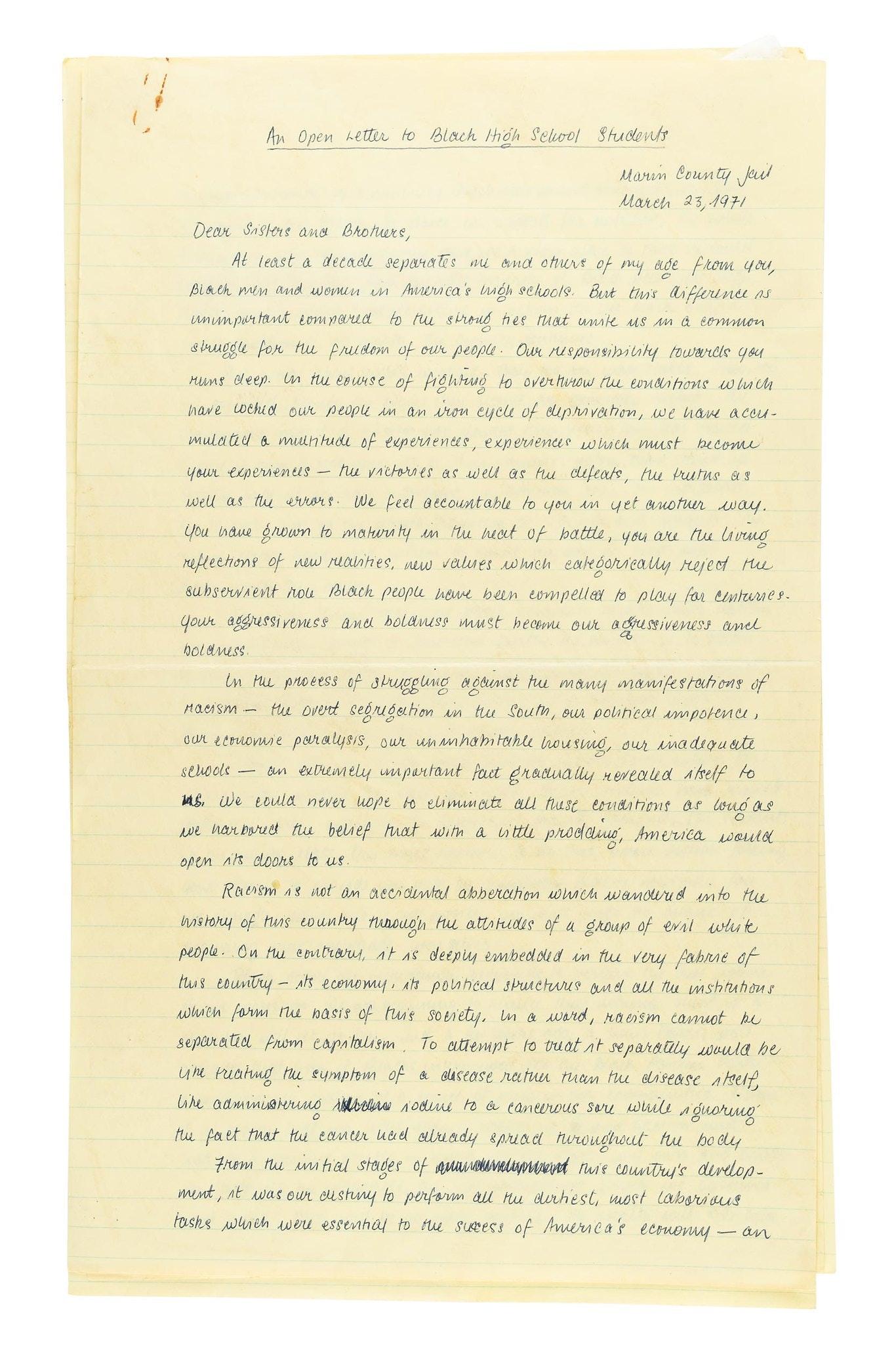 Yellow toned handwritten open letter.