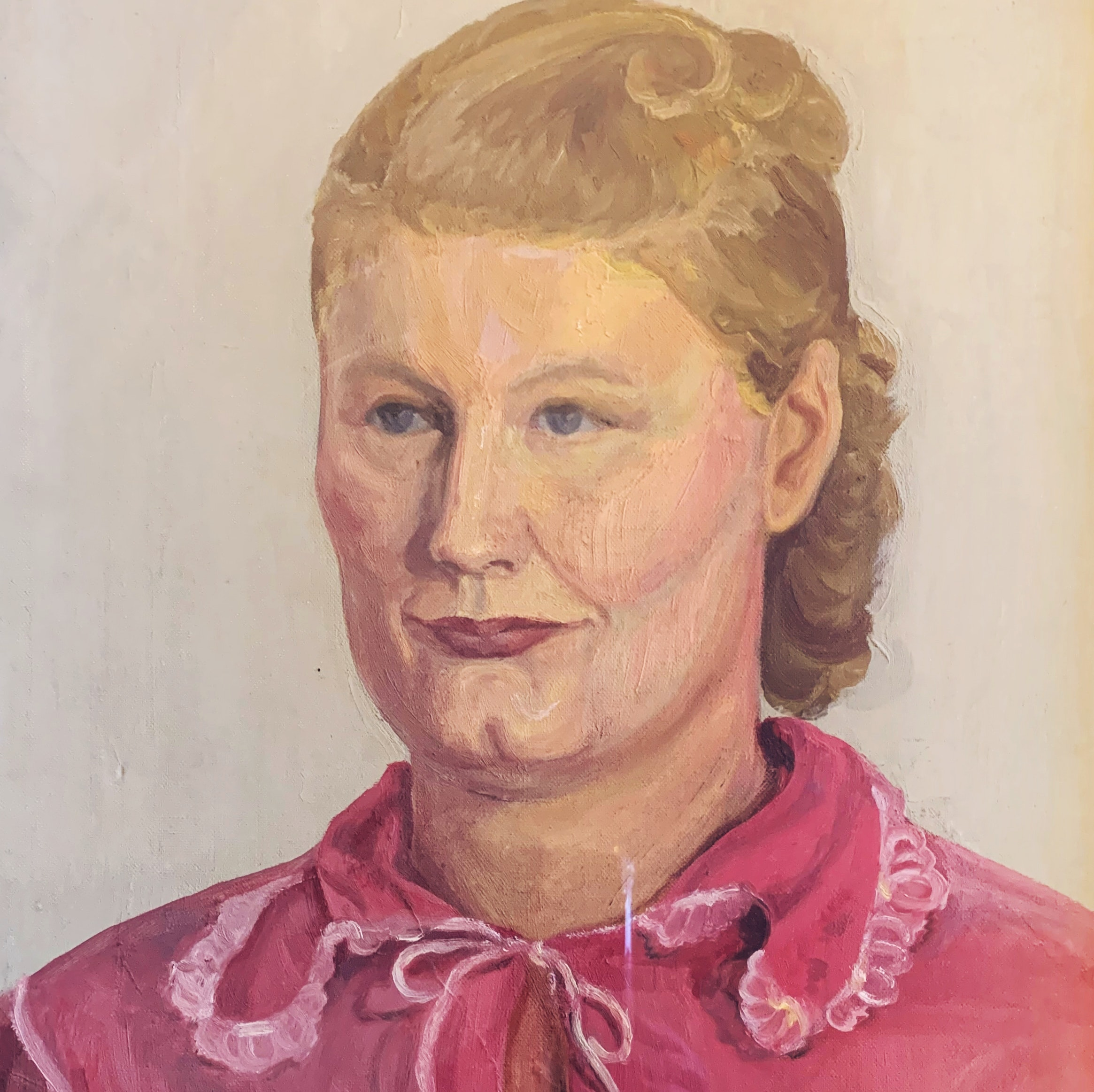 A painted portrait of a blond woman in a fuchsia pussy-bowed blouse.