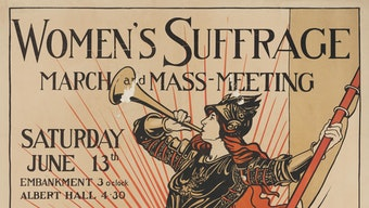 Poster outlining details for the Women's Suffrage March Mass Meeting