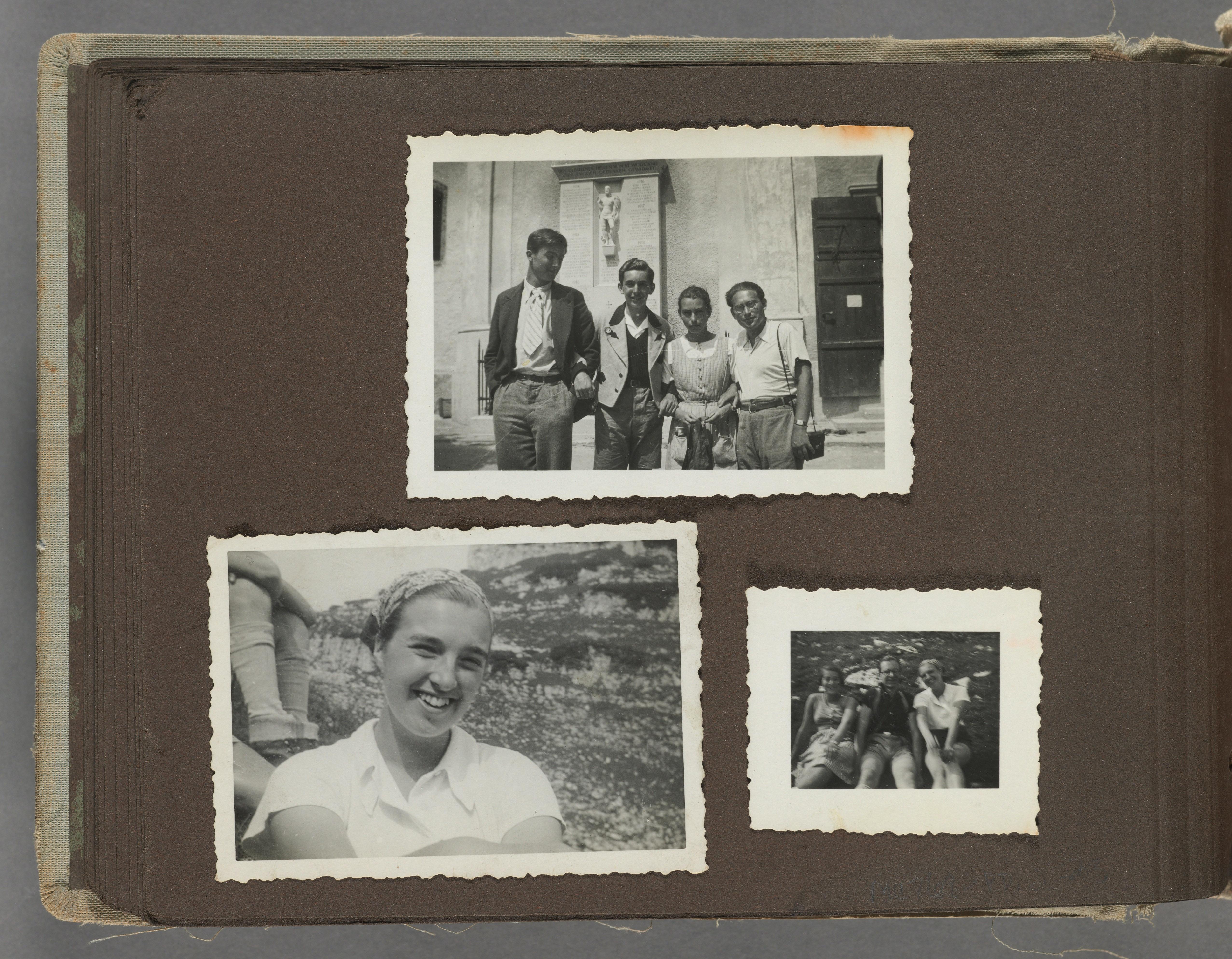 Gerda Lerna photo album of 3 pictures shown in Austria, 1933-1935