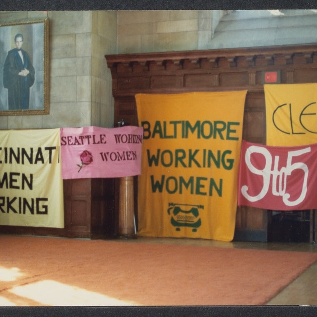 Banners on display at the 3rd annual Working Women's Summer School at Bryn Mawr College