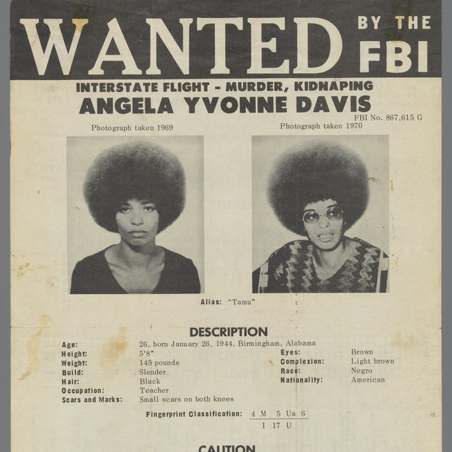 Angela Y. Davis FBI Wanted poster