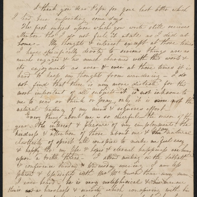 Letter to Lyman, June 5, 1821, concerning her courtship with Fisher