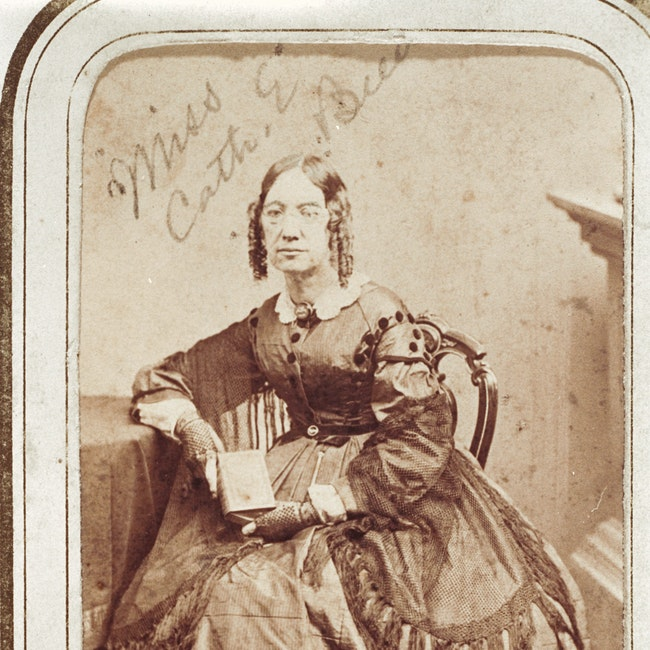 Portrait of Catherine Beecher holding a book