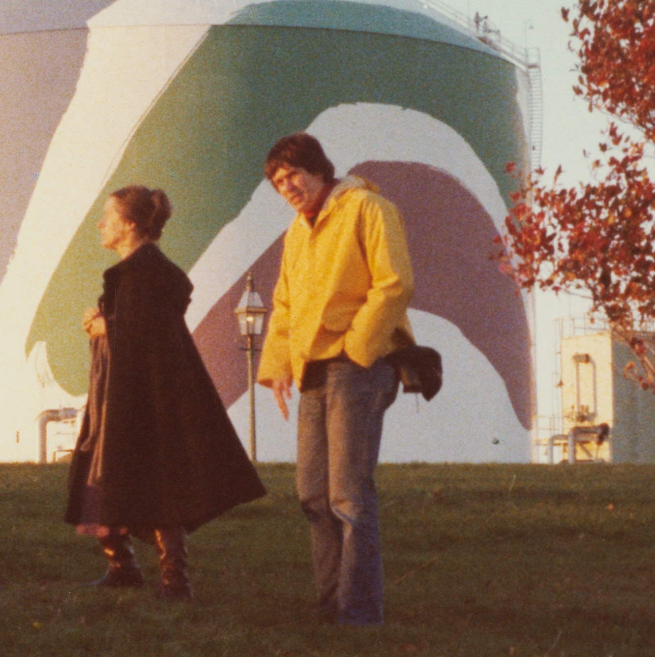 Corita with two others during a photo shoot in front of the Boston Gas tank in Dorchester