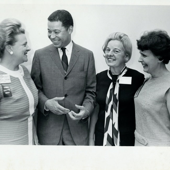 Eunice Howe with Senator Edward Brooke and two unidentified women