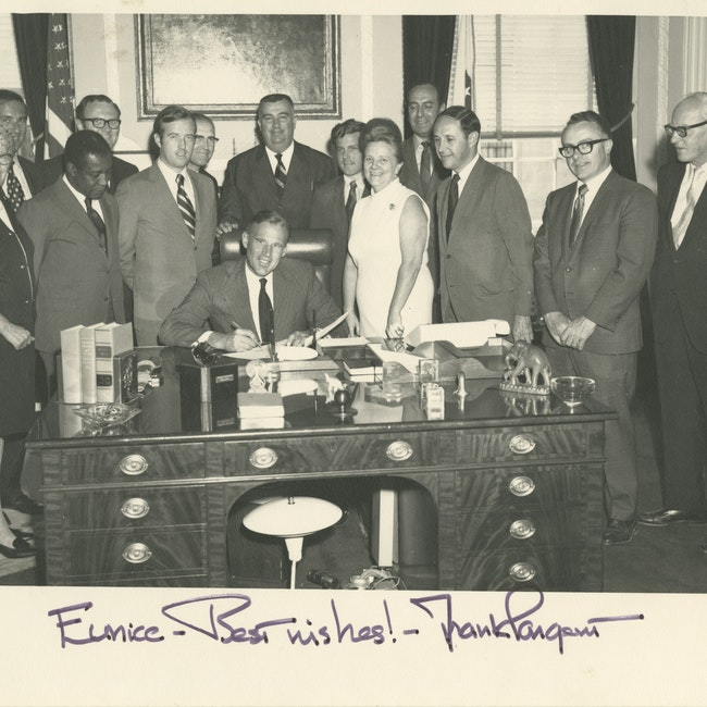 Eunice Howe with Governor Frank Sargent and a group of others in the Governor's office