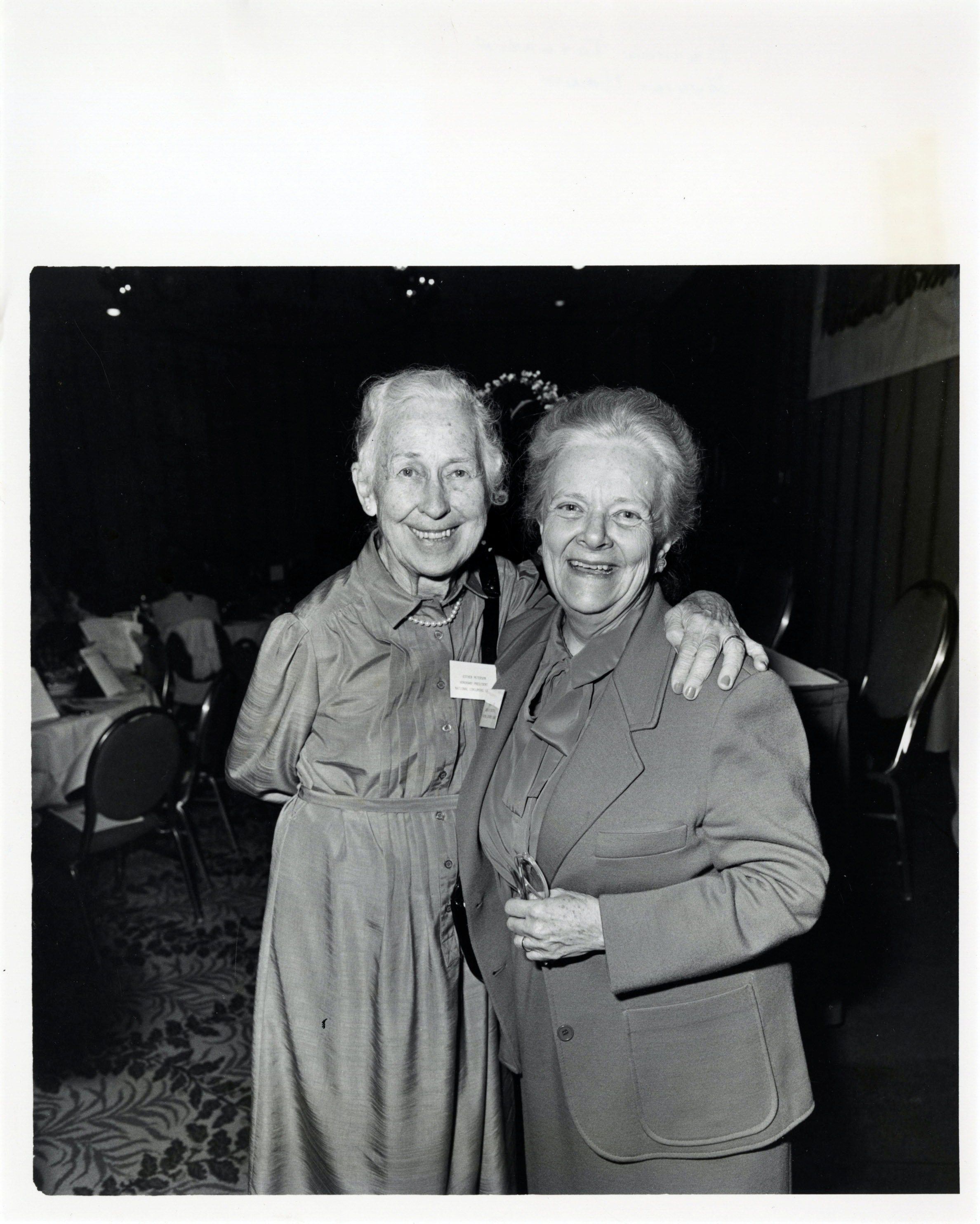 Eunice Howe smiling with Esther Peterson