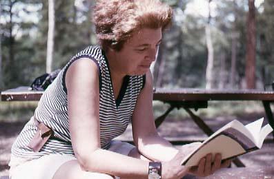 Gerda Lerner reading a book in the Grand Canyon, circa 1979