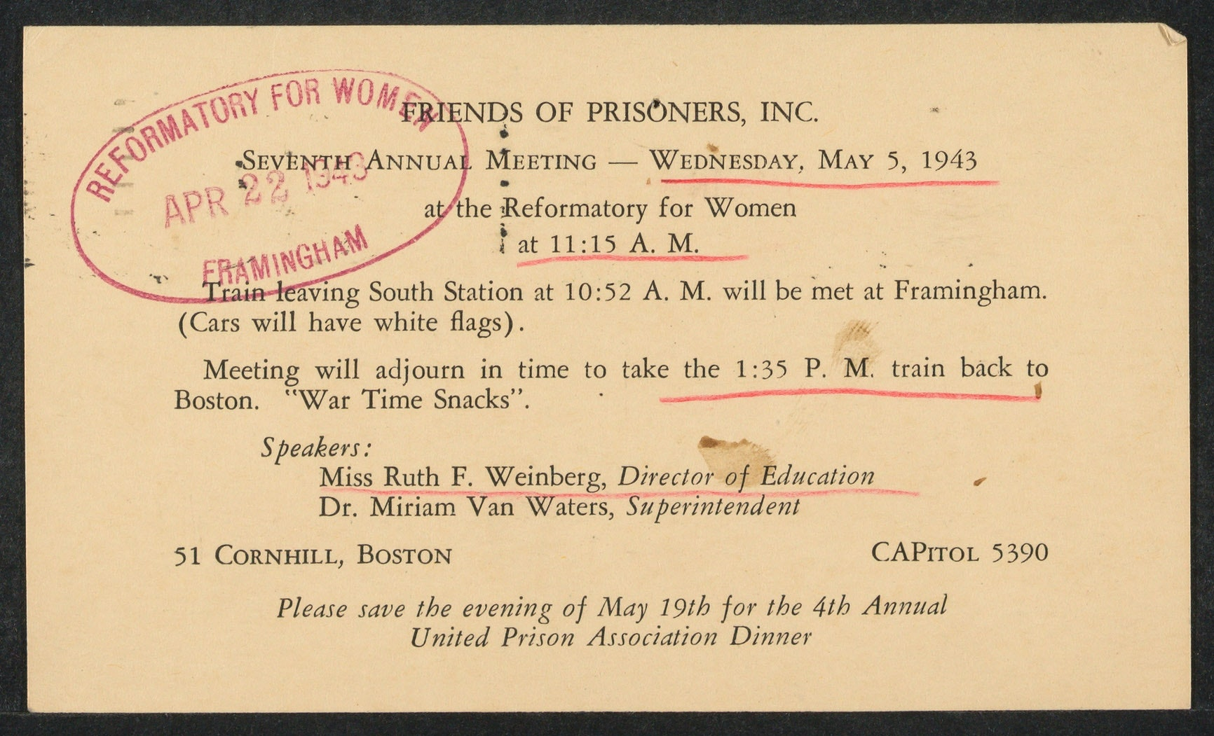 Miriam Van Waters' papers from 1942-1943. Outlines date and time for Seventh Annual Meeting.