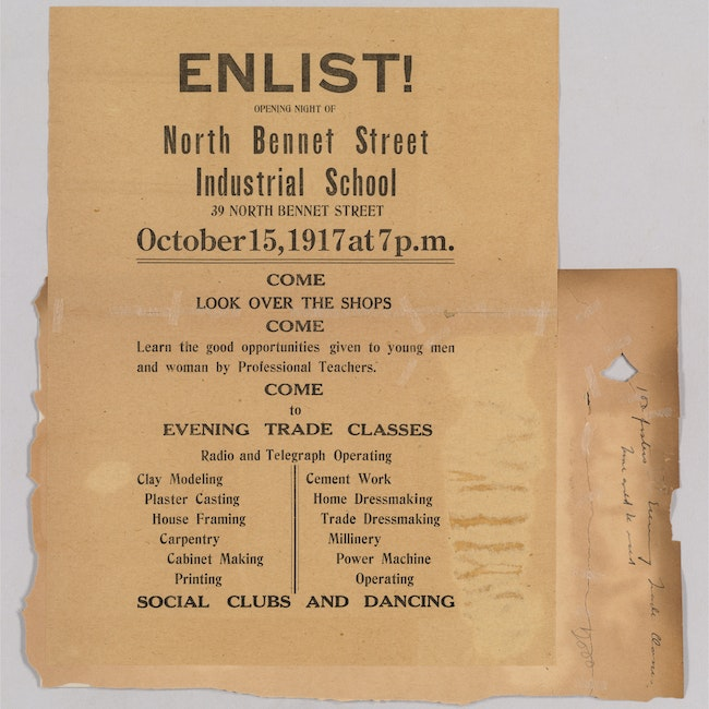 Records of North Bennet Street Industrial calling for people to come to the shops and evening trade classes