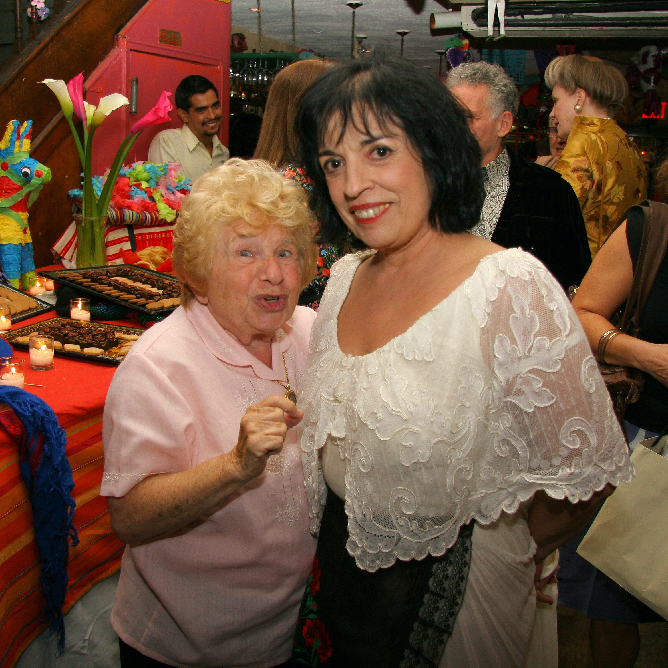 Zarela with an unidentified women, private party at restaurant