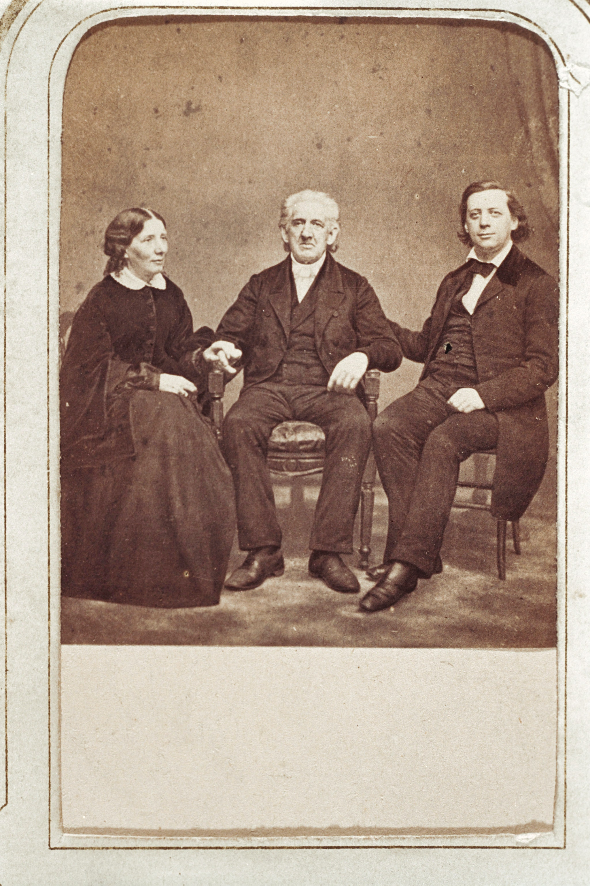 Group portrait of members of the the Beecher family. Includes, from left to right, Harriet Beecher Stowe, Lyman Beecher, and Henry Ward Beecher