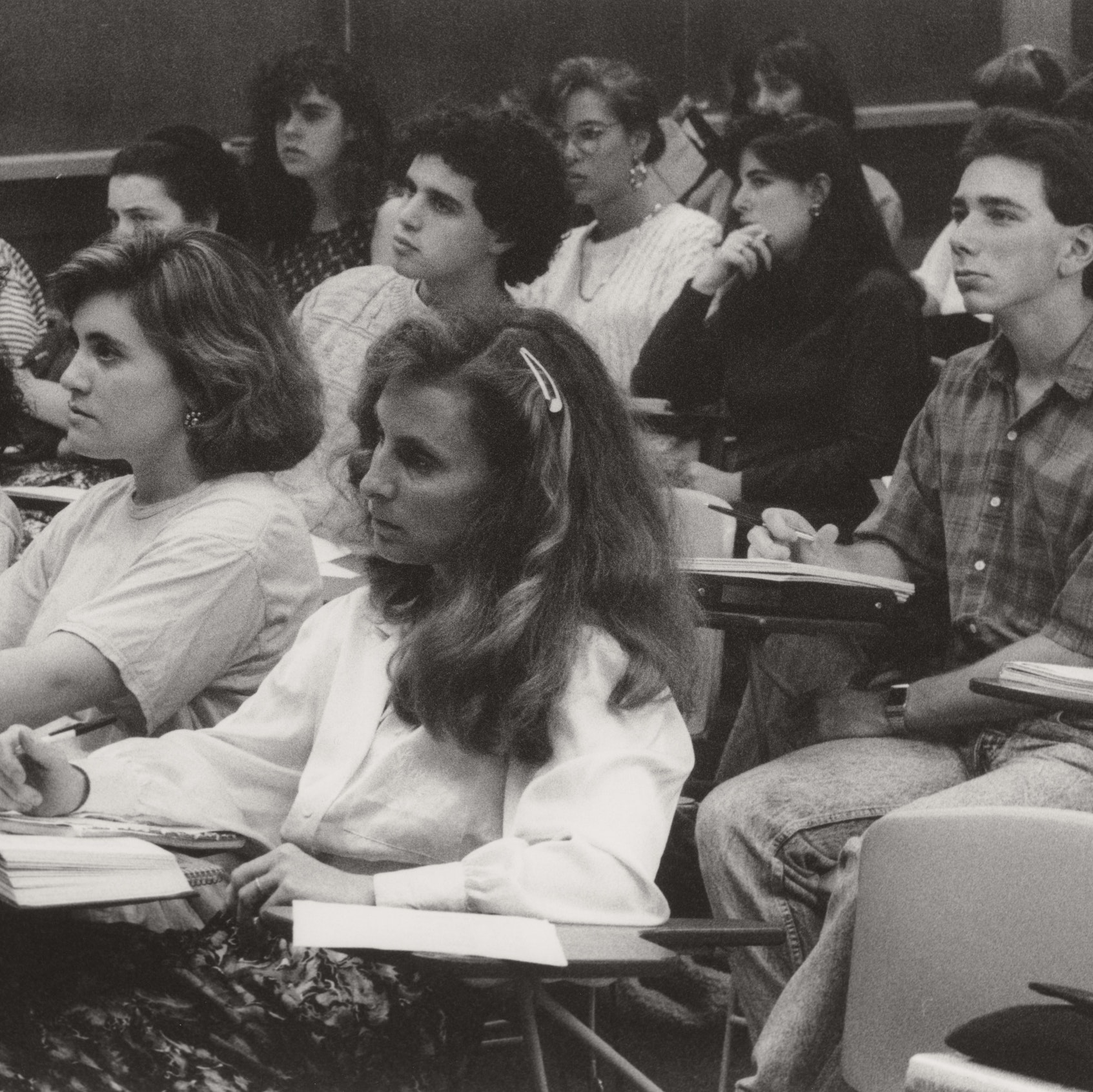 Portrait of Harvard and Radcliffe students in class