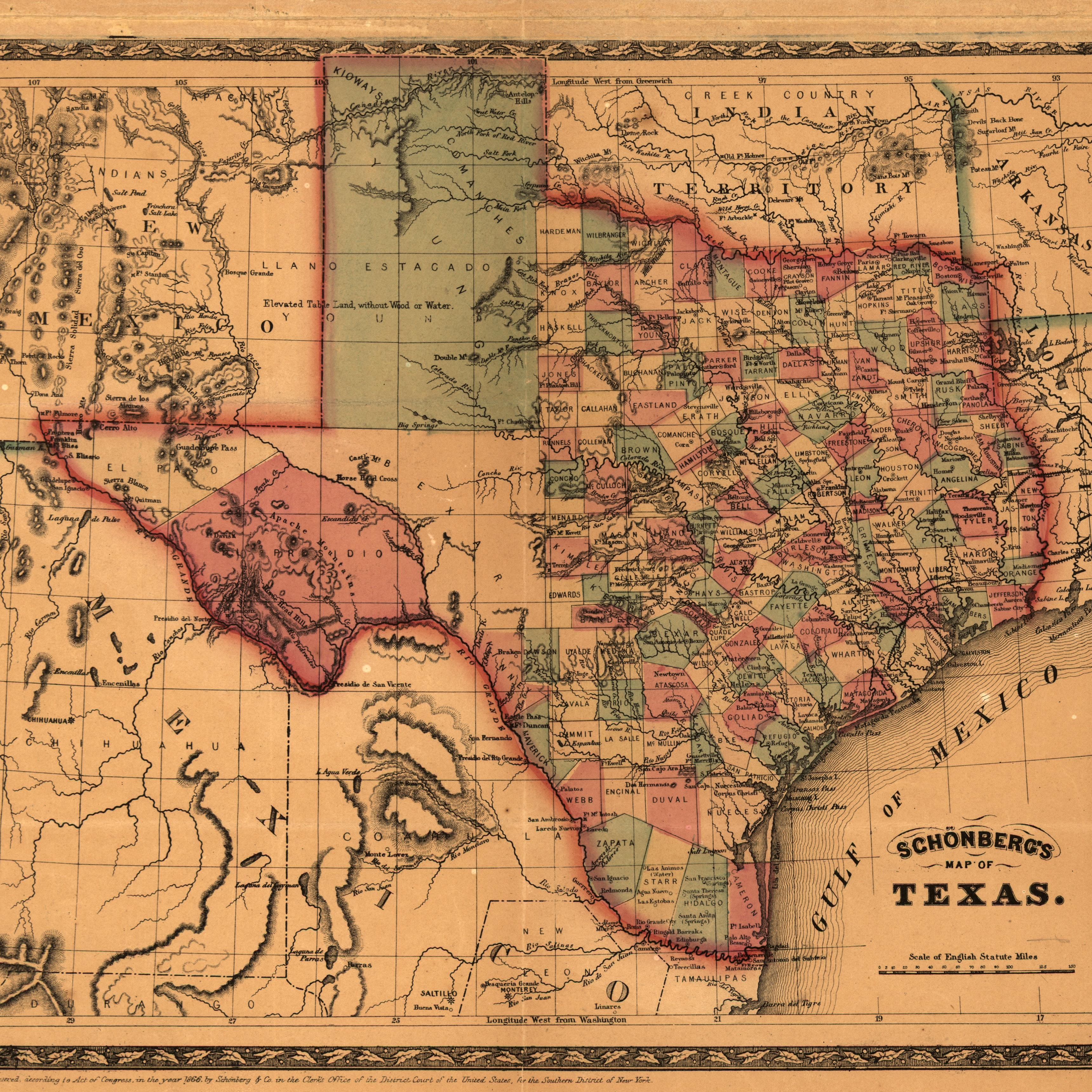 Schönberg's map of Texas, 1866. Courtesy Library of Congress.
