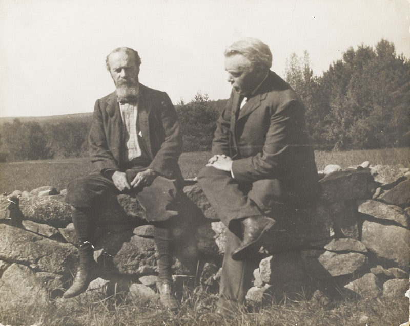 William James and Josiah Royce outdoors, seated on a stone wall. ca. 1910?_courtesy of Harvard University Archives