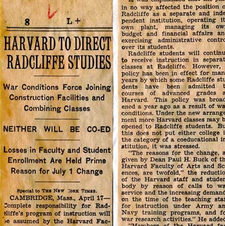 """""""Harvard to Direct Radcliffe Studies"""" The New York Times, April 18, 1943_courtesy of Schlesinger Library"""
