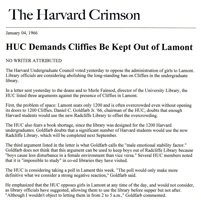 Harvard Crimson article about the decision to deny Radcliffe women access to Lamont Library describes the perils of allowing women into Lamont. The spokesperson for the Harvard Undergraduate Council, however, does not think there is serious risk in allowing men into the Radcliffe Library, January 1966_courtesy of Schlesinger Library
