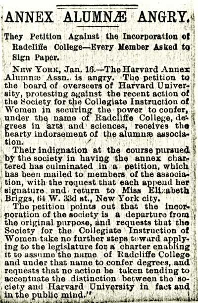 """""""Annex Alumnae Angry,"""" newspaper clipping_January 1894_courtesy of Schlesinger Library"""