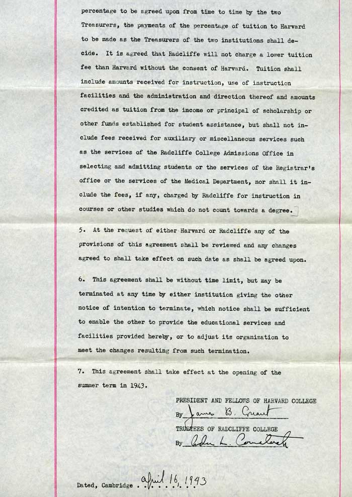 April 16 1943 Agreement between President and Fellows of Harvard College and Trustees of Radcliffe College_page 1_courtesy of Schlesinger Library