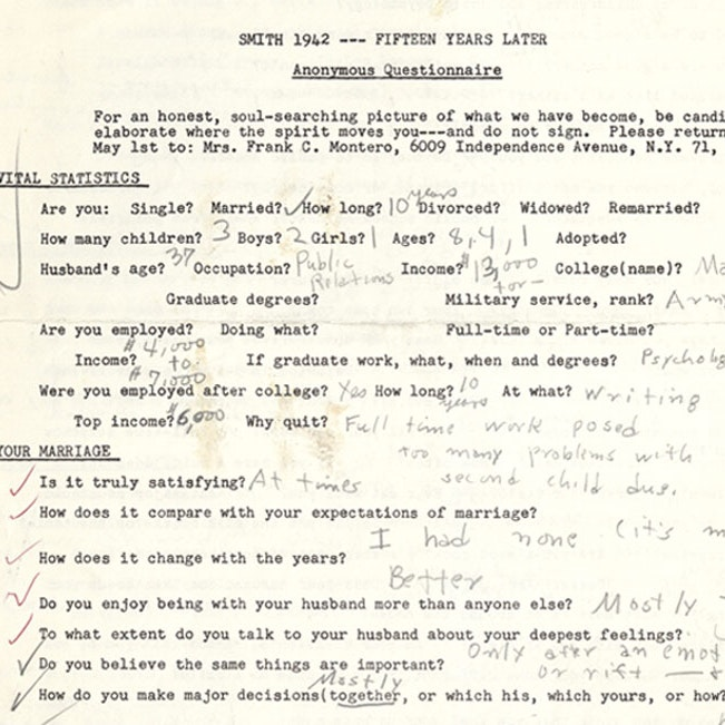 Betty Friedan's personal questionnaire-for Smith College classmates 15 years after graduation, 1957 (fragment)