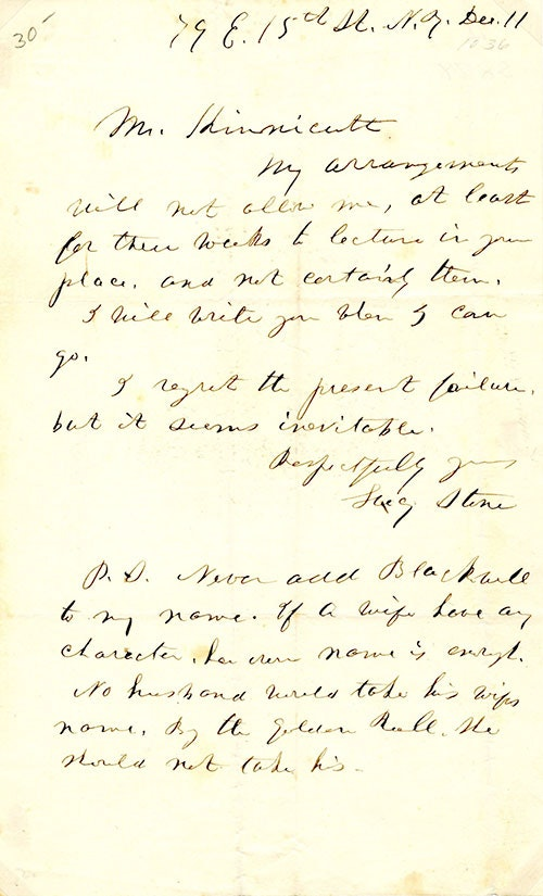 Letter from Lucy Stone to Mr. Hunnicut
