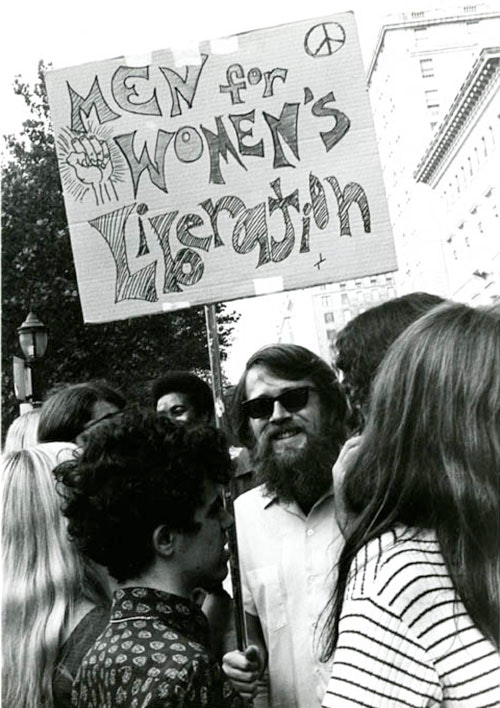 Male supporter at a Women's Strike demonstration, August 26, 1970
