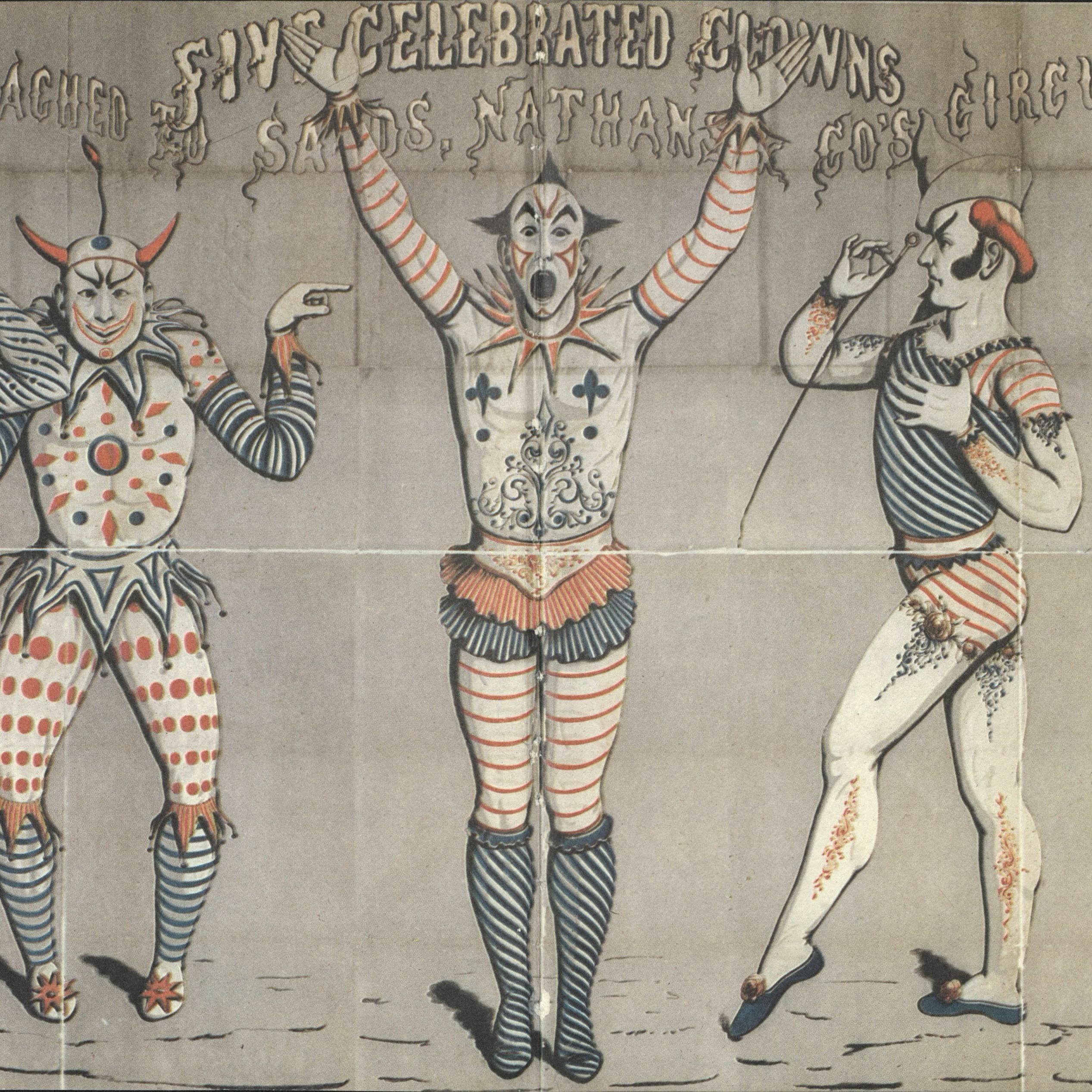 Artwork with clowns