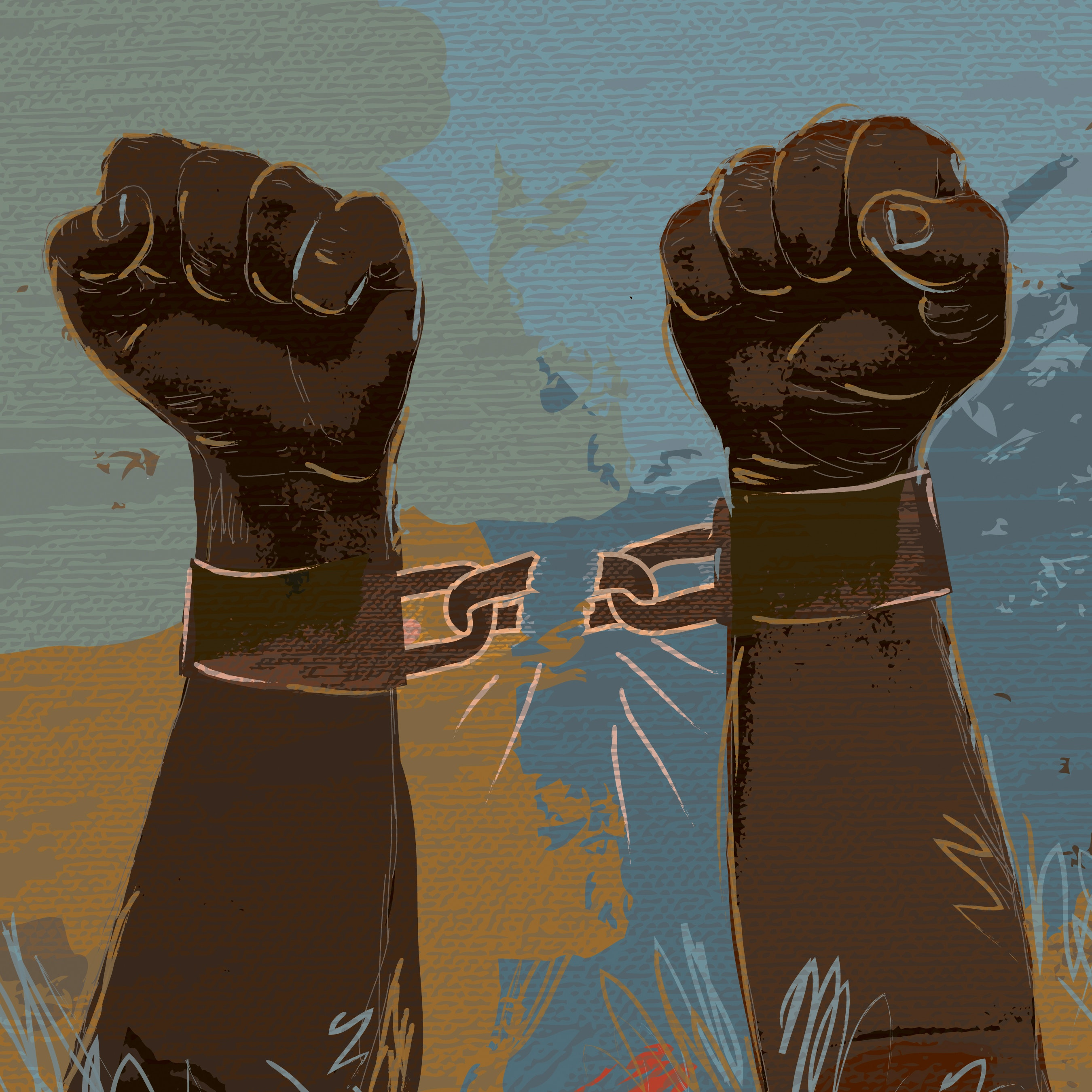 Illustration of two hands in fists breaking free from hand cuffs