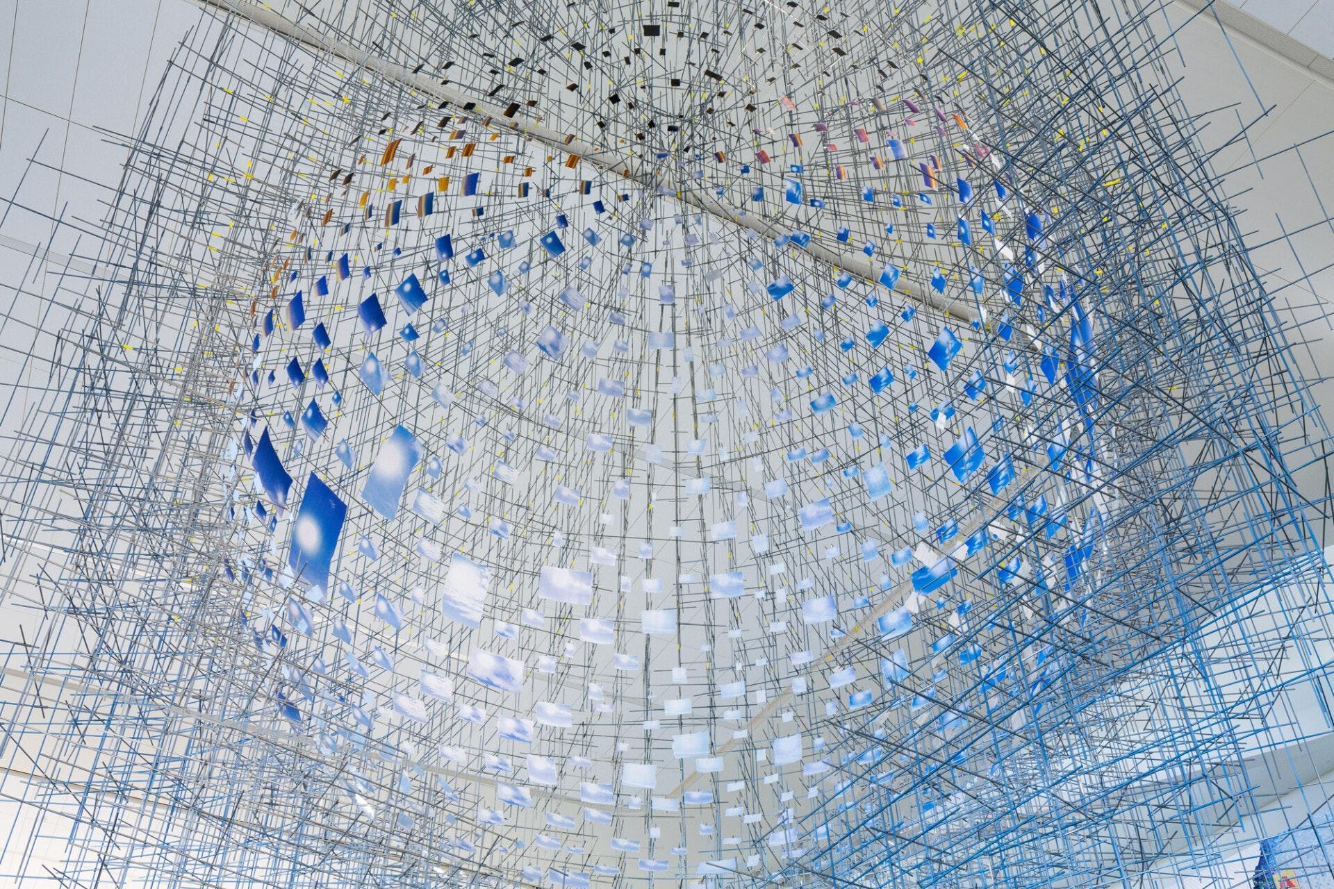 A detail of Sarah Sze's installation