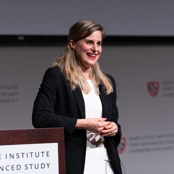 Lauren Groff smiles during her Radcliffe Fellow's Presentation