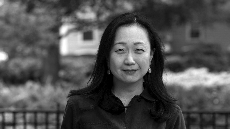 Black and white headshot of Min Jin Lee