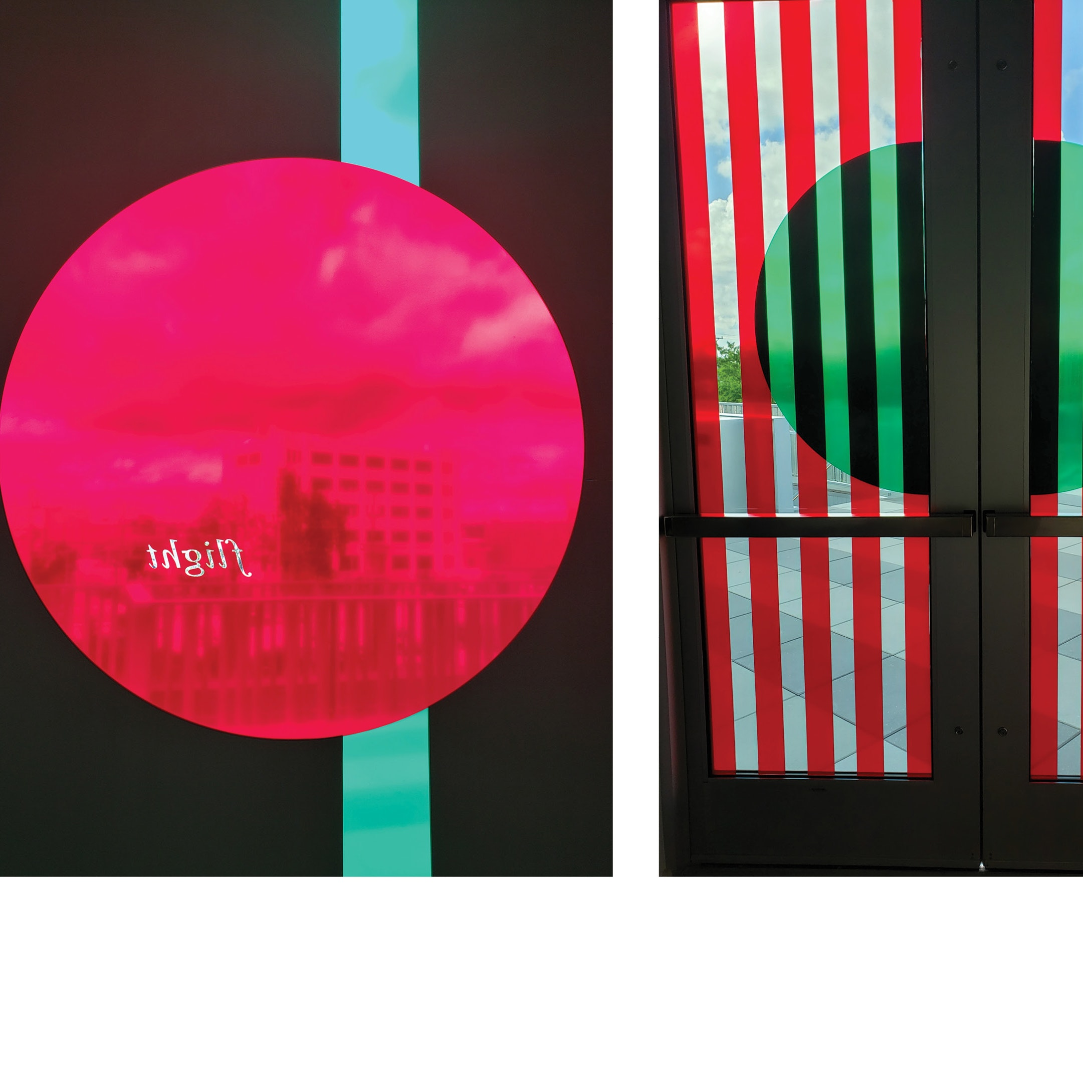 Views of Crystal Z Campbell's vibrantly colored window brochures