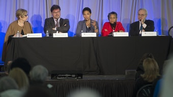 """""""(Un)Truths and Their Consequences"""" panel at Radcliffe Day 2017."""