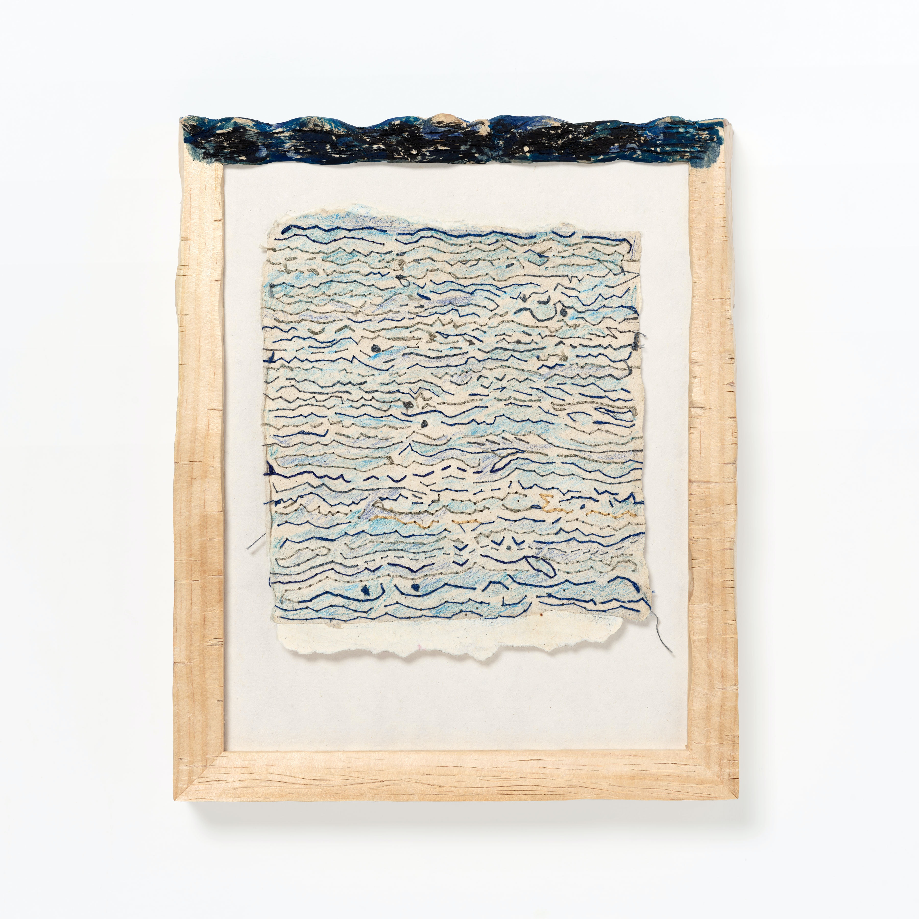 A framed artwork made of cotton thread, colored pencil on paper, pine, and gouache.