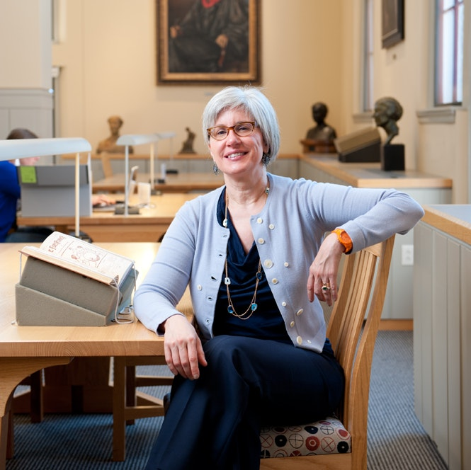 Portrait of Jane Kamensky in the Carol K. Pforzheimer Reading Room