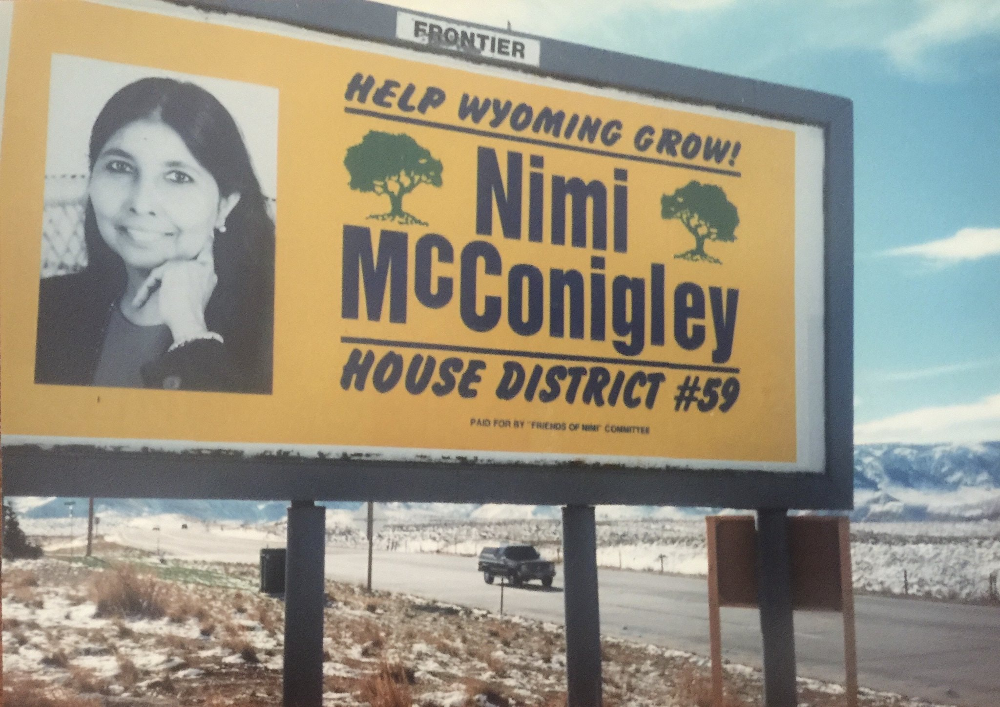 "Billboard image of Nina Mcconigley's mother, Nimi McConigley, reading ""Help Wyoming Grow!"" and ""House District #59"""