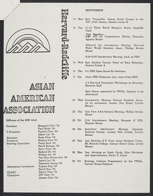 Typed page outlining the calendar of events for the Asian American Association