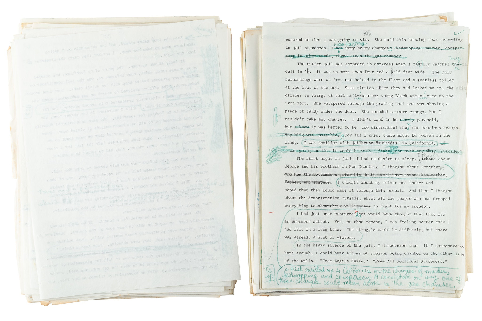 Manuscript with text marked up or circled in blue ink.
